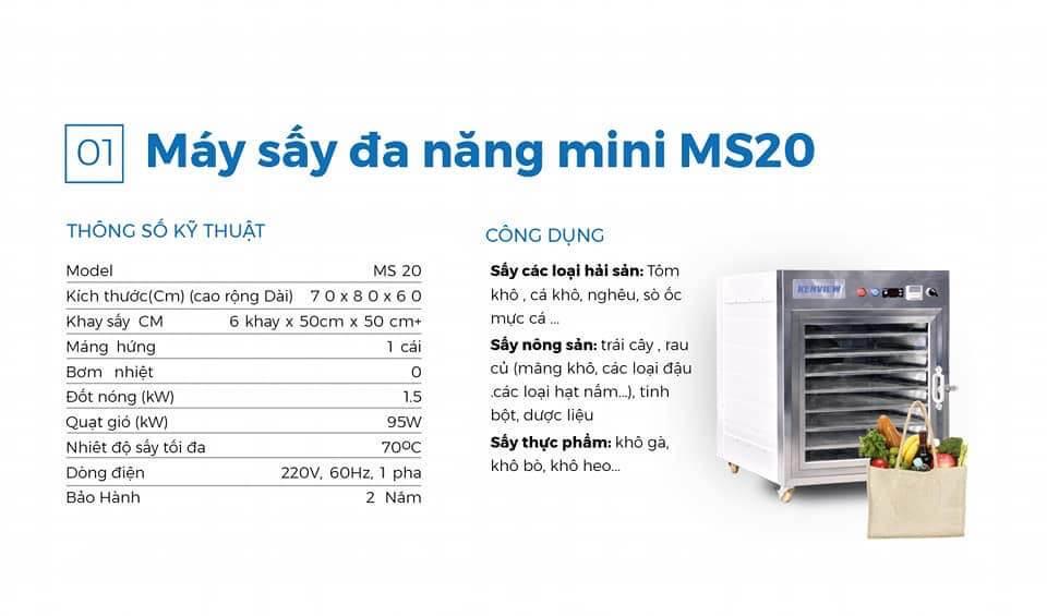 máy sấy cá khô ms 20