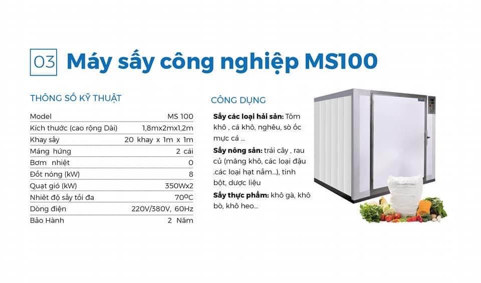 máy sấy cá khô ms 100