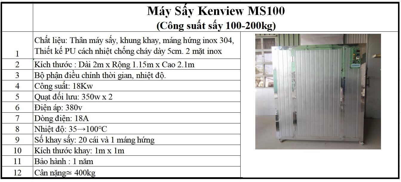 Máy sấy hải sản chuyên nghiệp Kenview