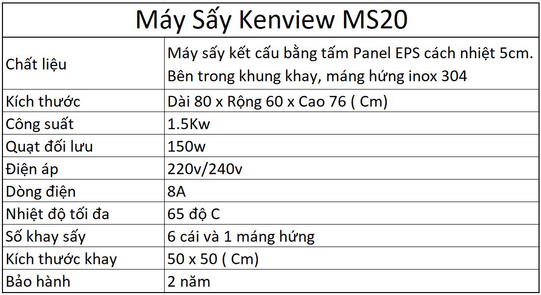 Thông số kỹ thuật máy sấy kenview ms20